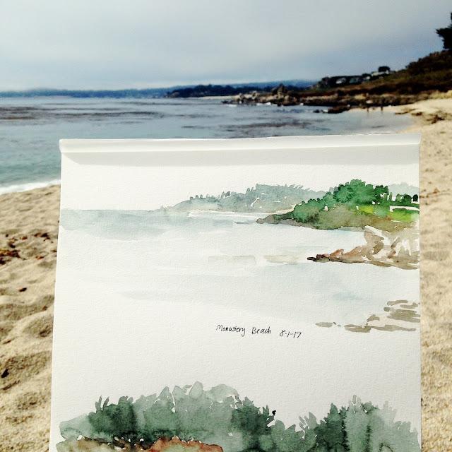 watercolor beach landscape sketches