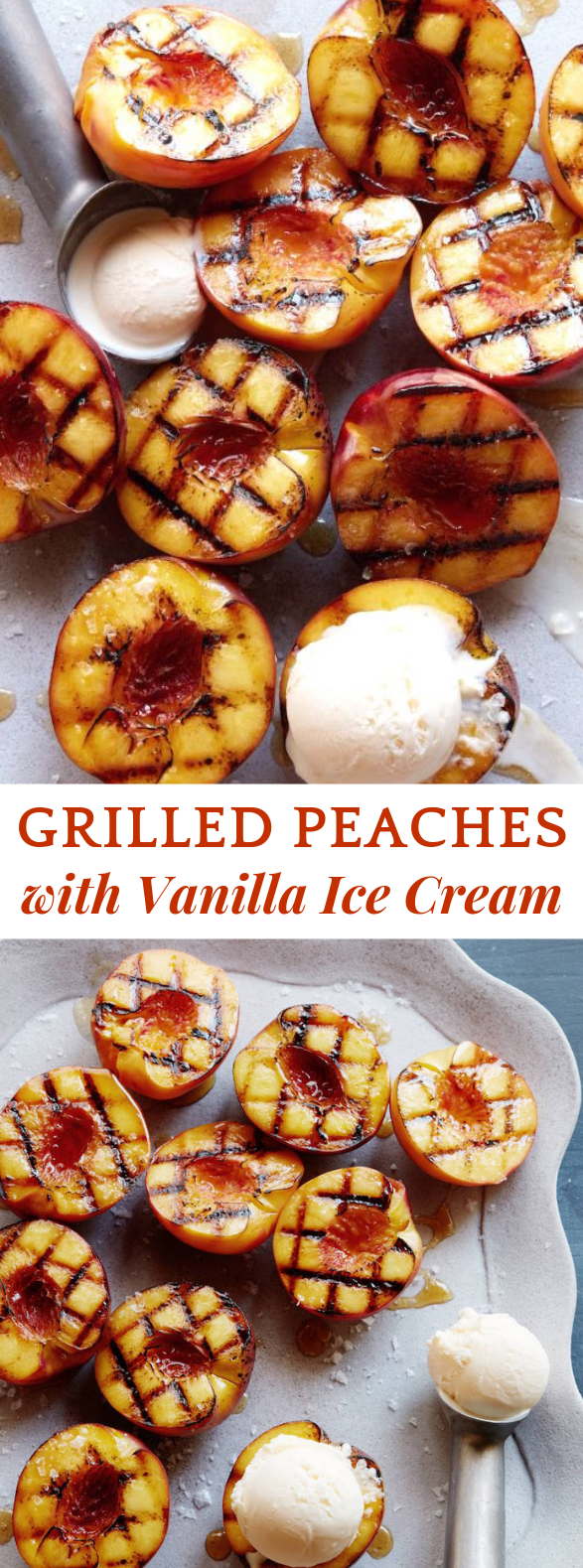 GRILLED PEACHES WITH VANILLA ICE CREAM #Dessert #Cinnamon