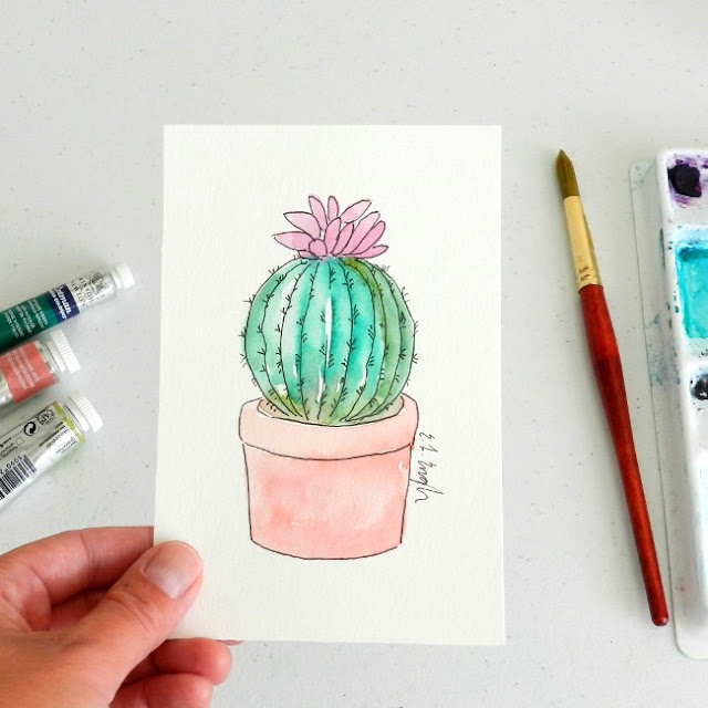 Mini Barrel Cactus Watercolor Illustration by Elise Engh