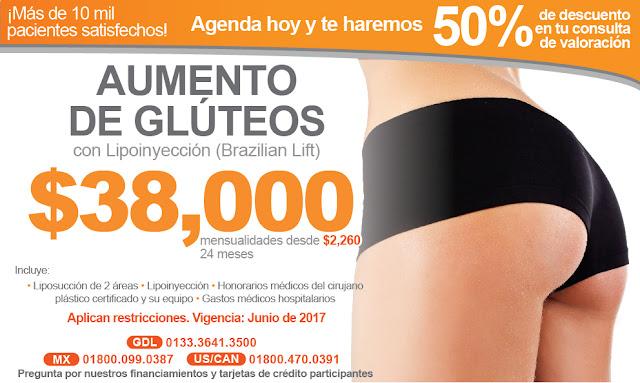 brazilian lift aumento de gluteos nalgas lipoinyeccion paquete precio guadalajara