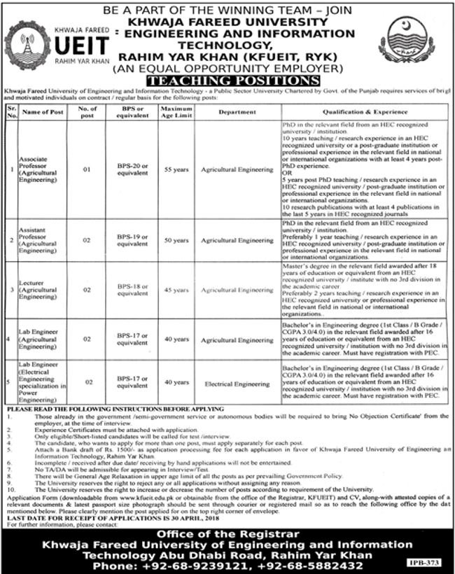 khawaja fareed university jobs