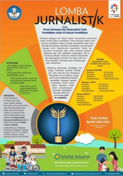 Lomba Jurnalistik Pendidikan Keluarga 2018 Kemdikbud RI