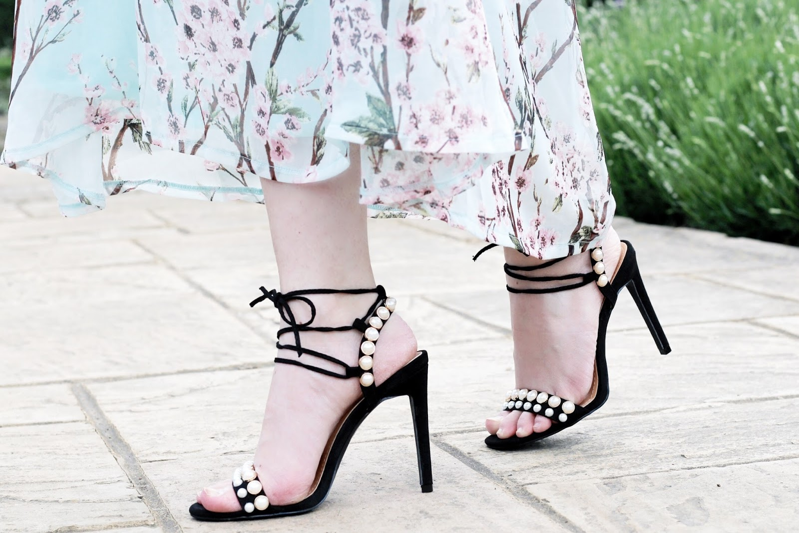 Boohoo Pearl Embellished Wrap Up Heels