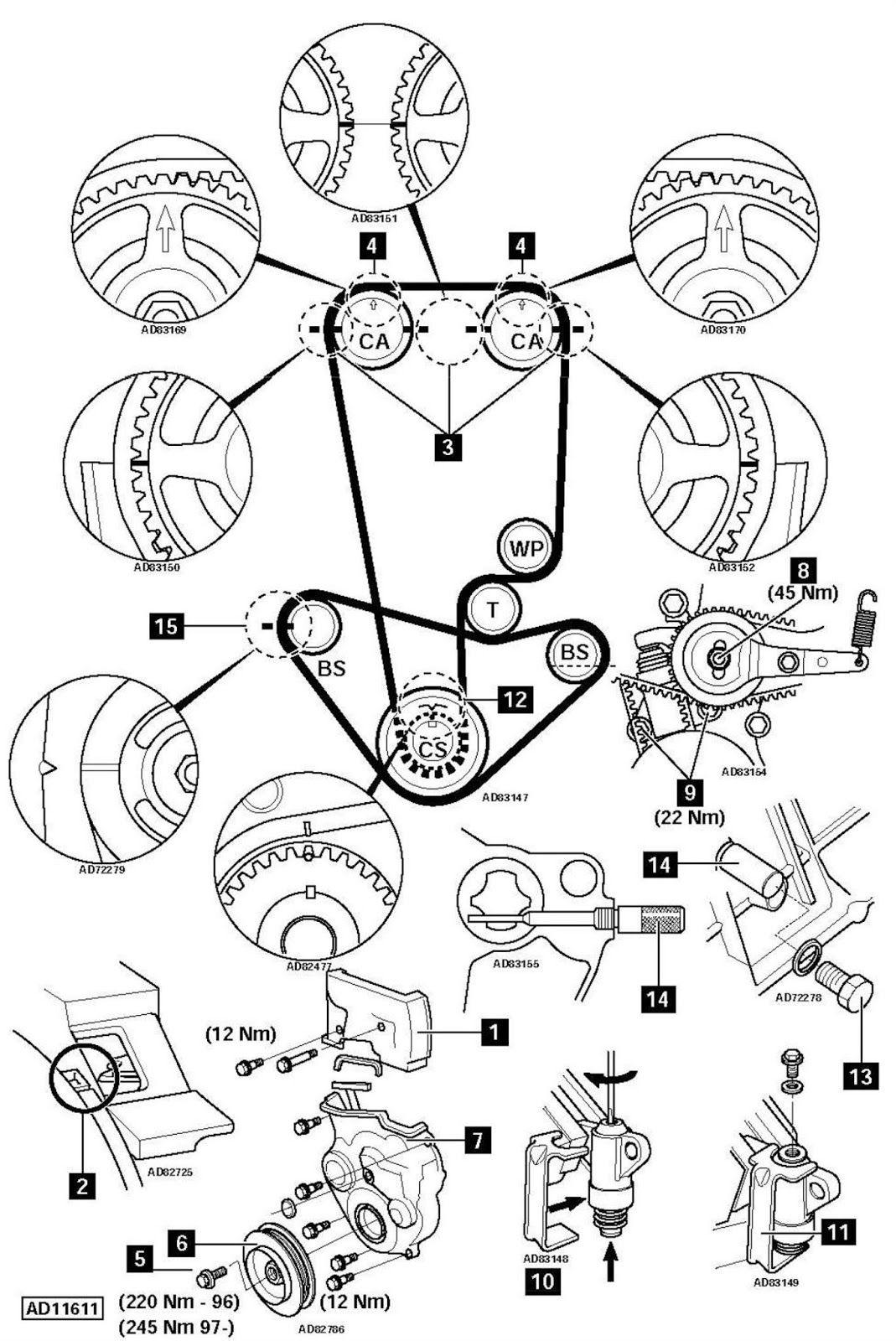 ajuste de motor  marcas de distribuci u00f3n honda prelude 2 2 2001