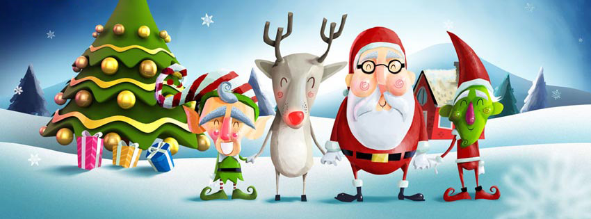 Cute Christmas facebook cover photo and Twitter Image
