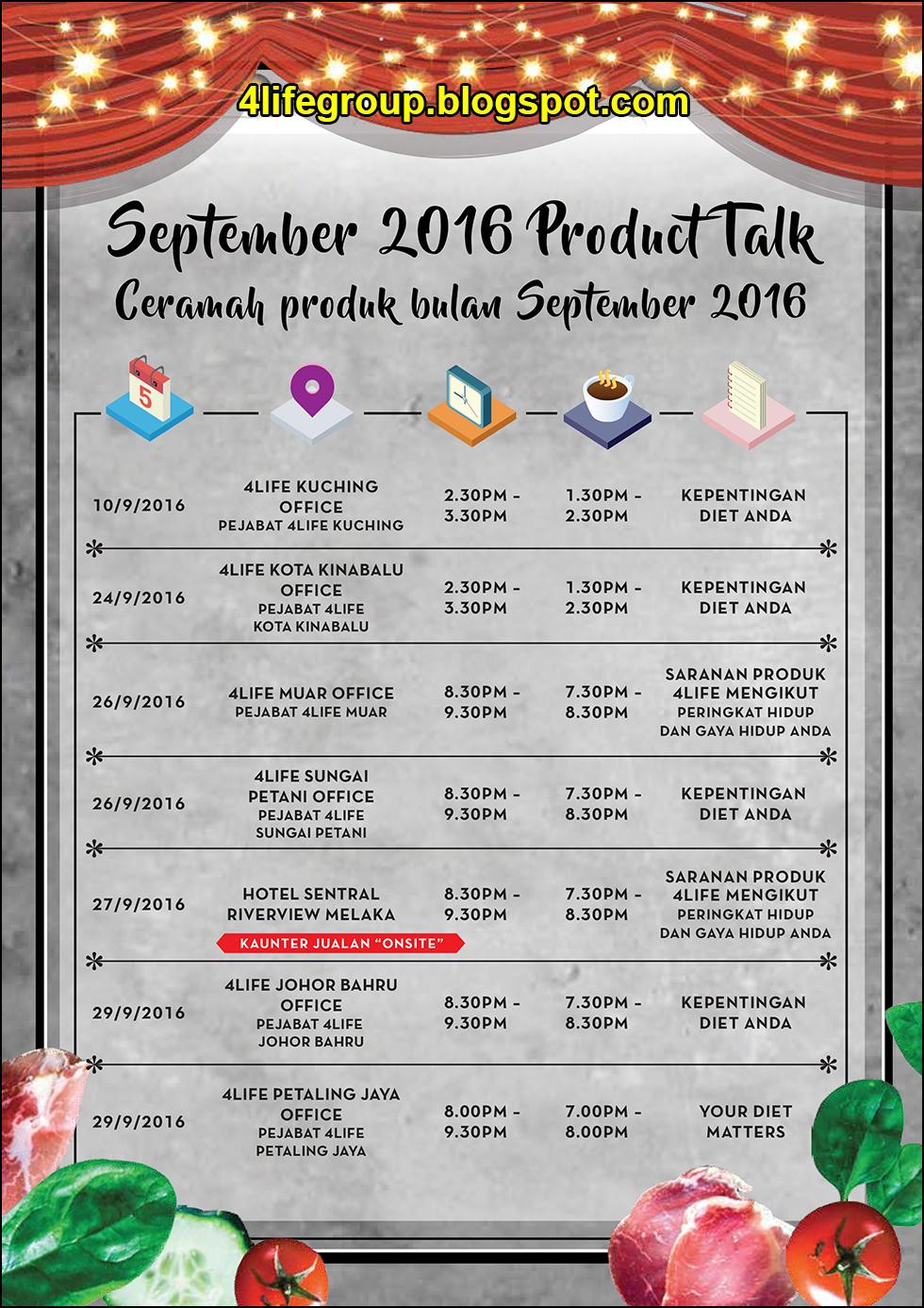 foto Jadual Ceramah Produk 4Life September 2016 4Life Malaysia (1)
