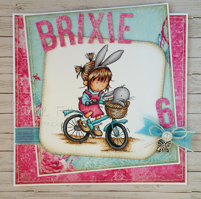 Girly card featuring girl on bike (image by Lili of the Valley)