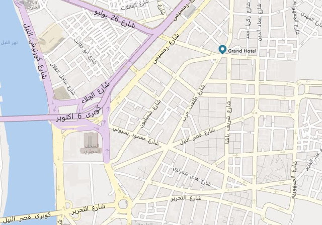 خريطة فندق جراند أوتيل القاهرة Cairo Grand Hotel Map