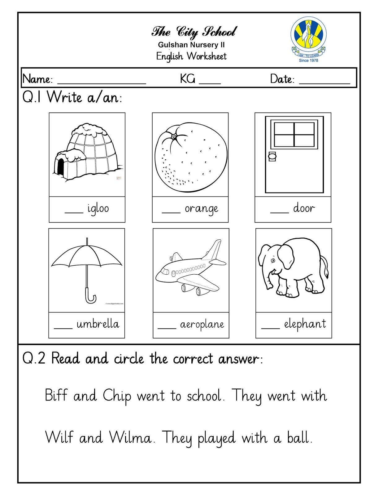 Sr Gulshan The City Nursery Ii English Kuwa And Math Worksheets
