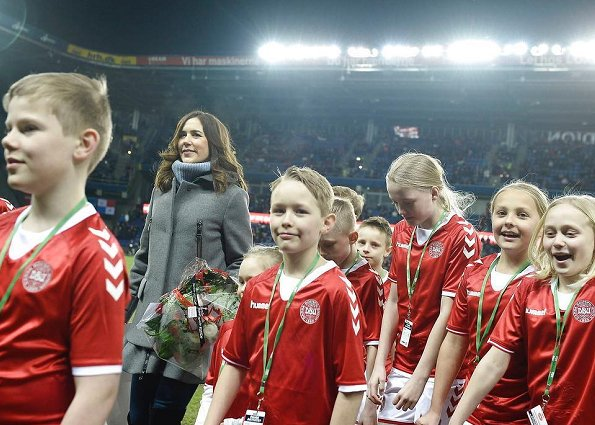 Crown Princess Mary wore Moncler Phemia puffer vest at Brøndby Stadium