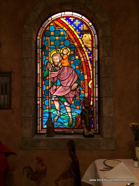 Chartres stainted-glass window at Restaurant Jeanne d'Arc in San Francisco