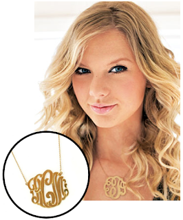 Taylor Swift wearing Monogrammed Necklace
