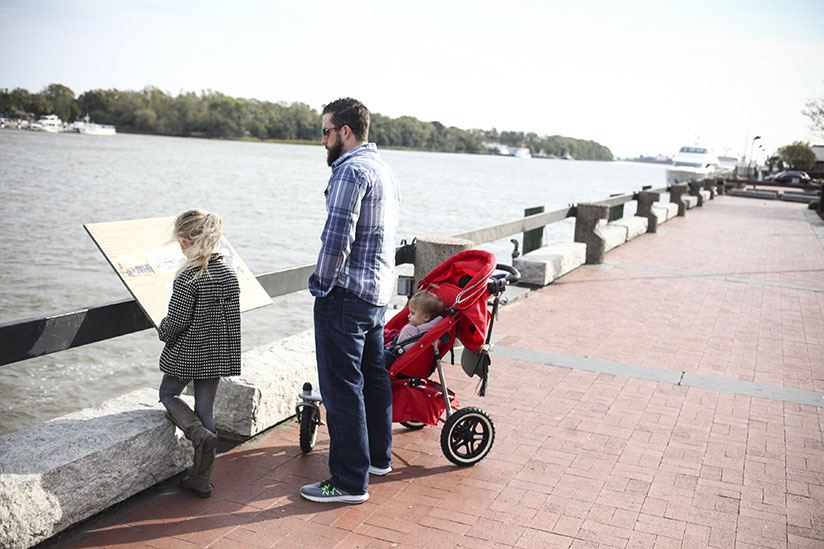 David West and family stroll along River Street in Savannah