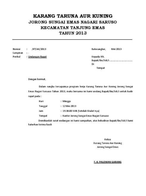 Contoh Surat Tugas Organisasi Karang Taruna Suratmenyurat Net