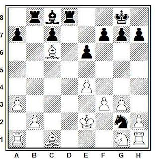 Posición de la partida de ajedrez Panzer - Wells (Hastings, 1988)