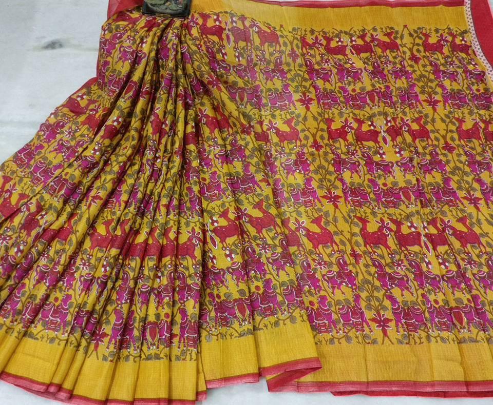 232d12fce715d salwarboutique  kalamkari and pochampally printed manipuri kota silk ...