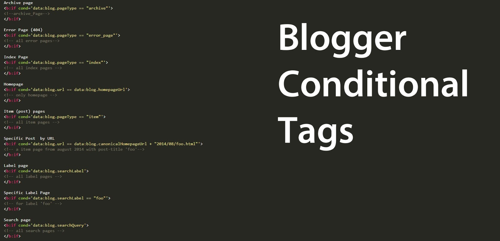 Blogger Conditional Tags for different page types — Ultimate Blogger ...