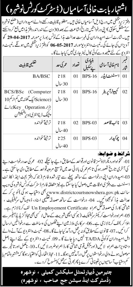 District And Session Judge Nowshera jobs