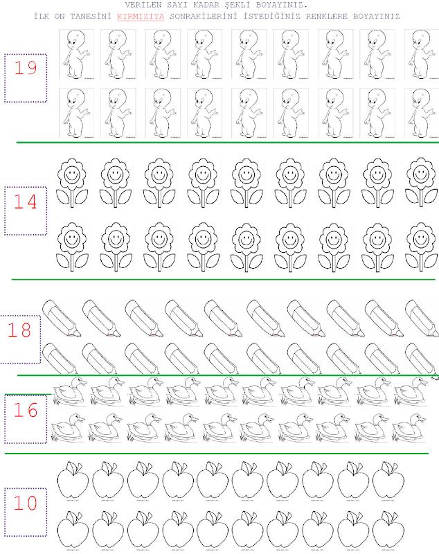 1 Sınıf Matematik Verilen Sayı Kadarını Bulma Etkinlikleri 1 Sınıf