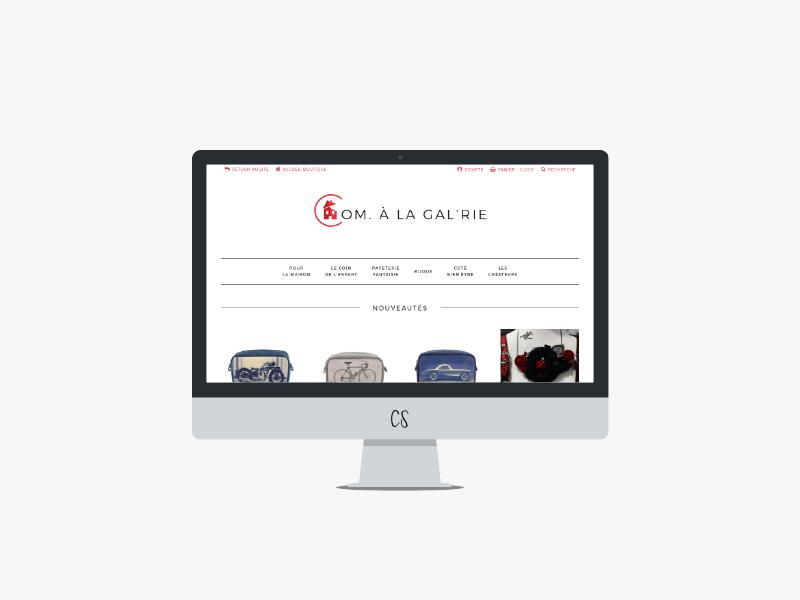 Design de la boutique en ligne de Com. à la Gal'rie