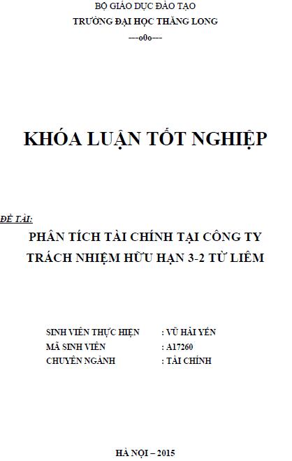 Phân tích tài chính tại Công ty TNHH 3-2 Từ Liêm