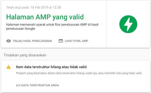 Item Data Terstruktur Hilang Atau Tidak Valid - Tes AMP