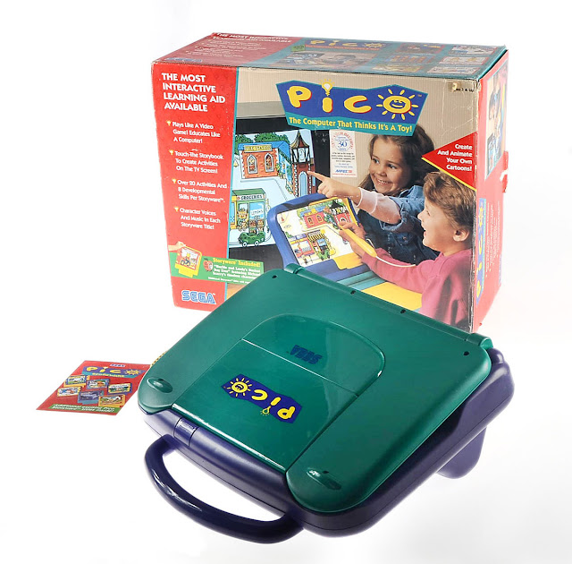 videogame Sega Pico com a caixinha na propaganda dos anos 90