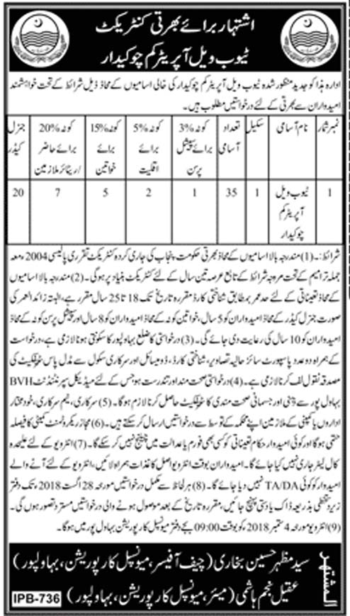 Tube Well Operator Cum Chowkidar Jobs in Municipal Corporation Bahawalpur