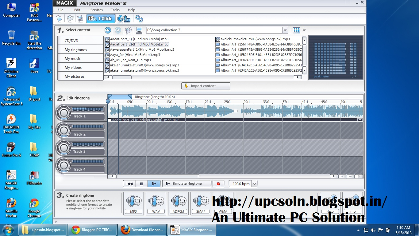 PC TRICKS  TIPS  AND HACKS  : Ringtone Maker Software