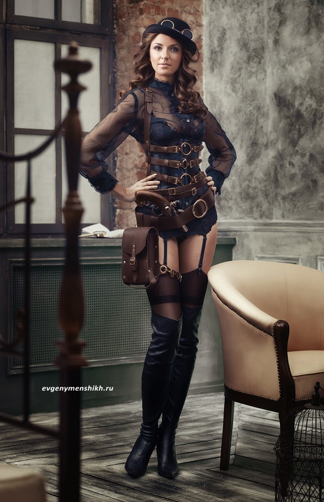 sexy steampunk garter belt stockings boots googles woman