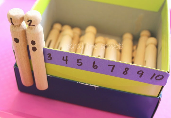 fine motor counting activity using clothespegs
