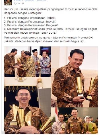 FOTO: DKI Jakarta Raih 4 Penghargaan Dibawah Kepemimpinan AHOK