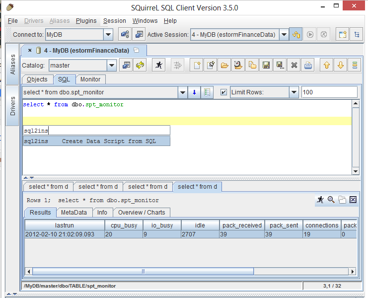 Generating INSERT statement from SELECT using SQuirreL SQL