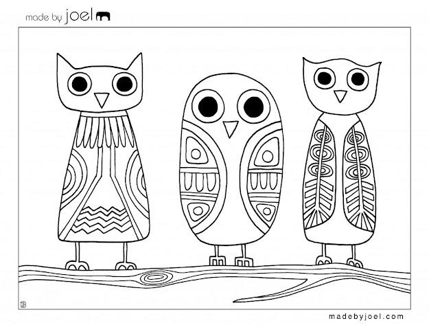 Owls Coloring Sheet