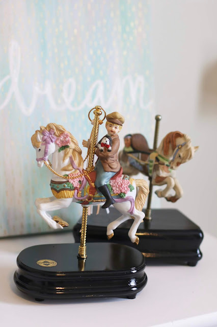 Carousel horse music box with a painted base