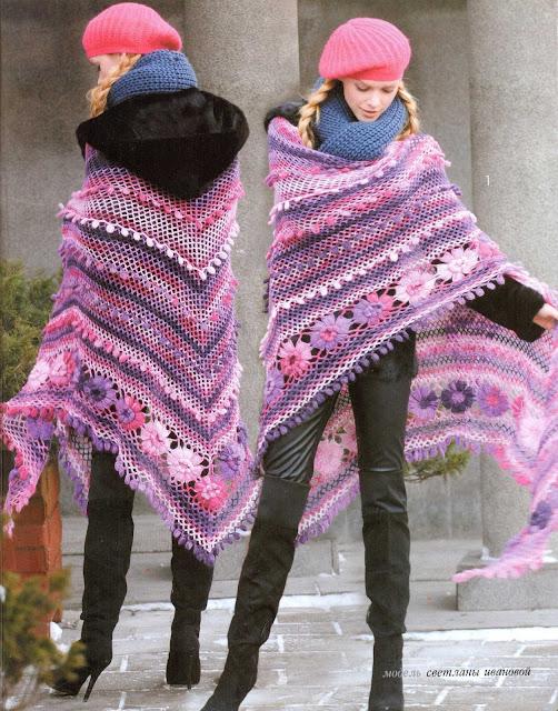 Patrón #1321: Poncho a Crochet