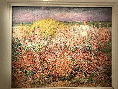 John Russell painting, Mrs Russell among the flowers at Goulphar, 1907, AGNSW exhibition 2018