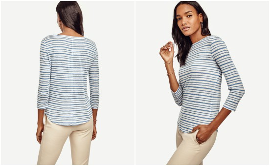 Ann Taylor Striped 3/4 Sleeve Linen Tee $15 (reg $24)