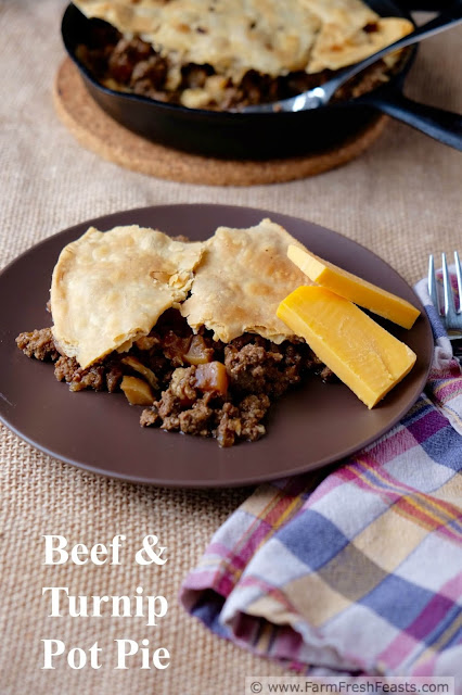 Ground beef and sautéed turnips topped with pie crust and baked in a skillet. Hearty comfort food from the farm share.