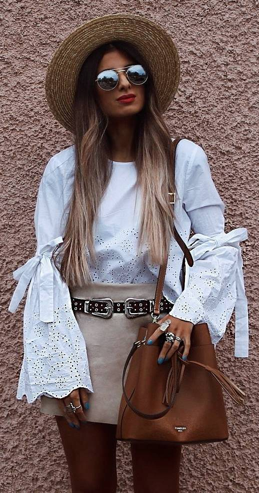 boho style outfit idea: hat + top + bag + skirt