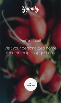 An welcoming page in the app