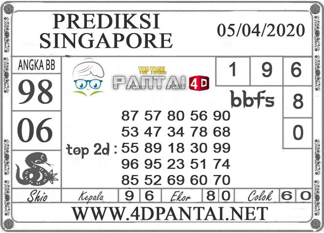 PREDIKSI TOGEL SINGAPORE PANTAI4D 05 APRIL 2020