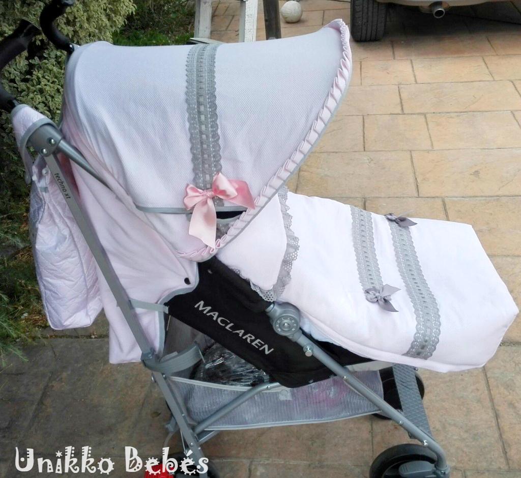 Vestidura rosa y gris para maclaren techno xt unikko beb s sacos de silla mochilas - Sacos para silla maclaren ...