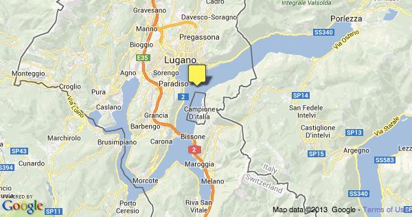 Mapa de Lugano Lake na Itália