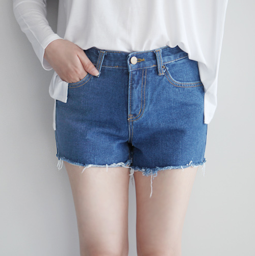 Distressed Uneven Hem Denim Shorts