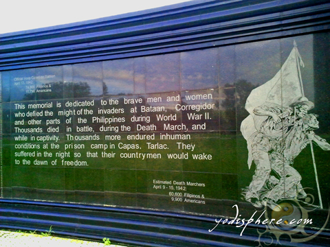 Dedication Wall at the Capas National Shrine dedicated for the Filipinos who died in the death march