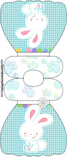 Easter Bunny with Light Blue and White Squares: Free Printable Invitations.