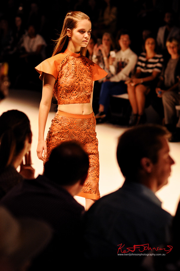 Laser cut leather top and skirt; ANY STEP by Amy Le and Stephanie McGuigan - MBFWA - Photographed by Kent Johnson.