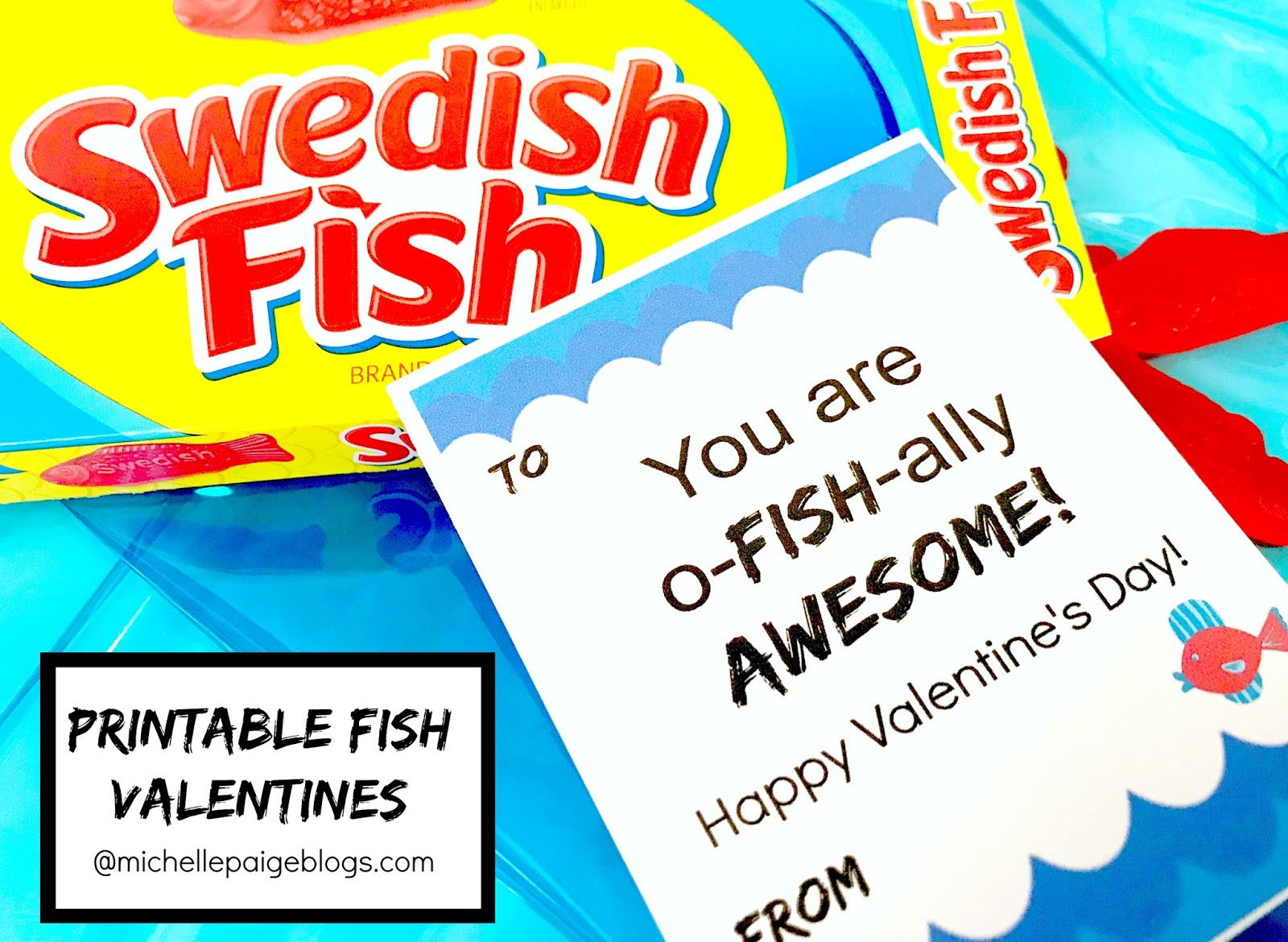 Fish Pun Printable Valentines @michellepaigeblogs.com