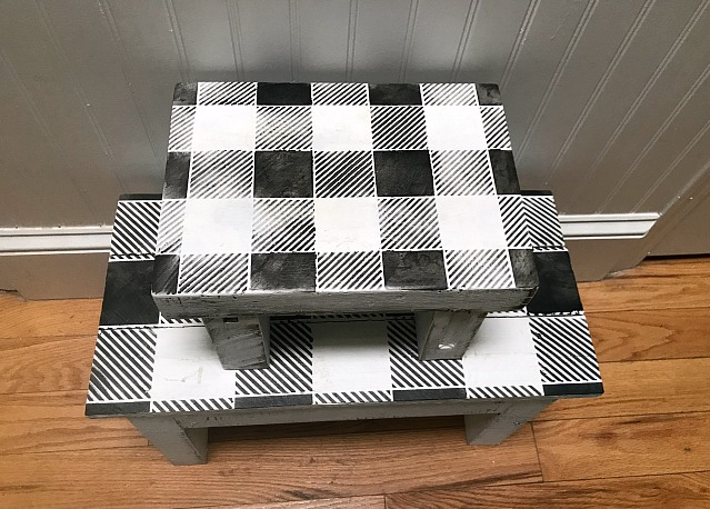 How to Make a Rustic Stenciled Buffalo Check Step Stool Set . Homeroad.net